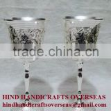 2015 New Design Small Size Brass Wine Goblets With Silver Finish, Wine Goblets, Metal Goblet