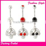 Fashion skull body piercing jewelry,hot and trendy navel ring