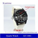 trend design quartz watch black dial, stainless steel back, white silicone strap