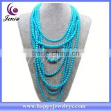 Latest design fashionable jewelry necklace wholesale cheap plastic bead necklace MDN0863-13