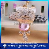 Crystal Handmade Bear Keychains Keyring Fashion bag charm Key Chains Holder Souvenir Key Chain women handbag Jewelry K0123