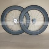 UD matte carbon track wheels 88mm with fixed gear hub Front:20H / Rear:24H silver spokes