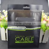 lamination plastic zip lock cable bag with hang hole / heat seal bag with black printing