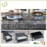 cheap sofa set-4pc steel frame and PE rattan garden bench and chair set