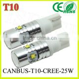 Auto lighting Factory directly supply 10v-30v 25W 450lumen car led light, T10 W5W CANBUS led signal light