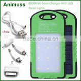 High capacity 5V 200mA android mobile phone rechargeable solar power bank battery charger 10000mah