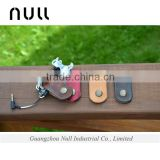 Genuine leather accessories earphone storage holder with clasp button