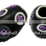 Handmade Indonesia Beads, with Brass Core, Drum, Black, about 14x20mm, hole: 5mm(IPDL-A006-2)