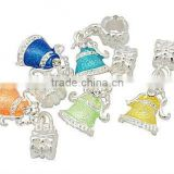 Alloy European Style Dangle Beads, Large Hole Beads, Christmas, Silver Color, 28mm, hole: 5mm; bell: 12.5x16mm(MPDL-A016-M)