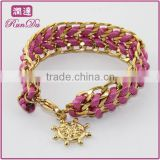 Friendship Gold chunky chain Silk wrap Bracelet with Wheel Rope