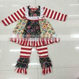 2015 new design owl dress top boutique suit girls stripes pant long sleeves kids outfits super cute baby kids wear set