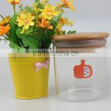 cylindrical jam/honey/cookies/storage bulk bee storage glass jars with bamboo lid wholesale