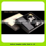 16016 Wholesale Promotional Real Leather Men's Wallet, Keychain, Leather Belt Gift set