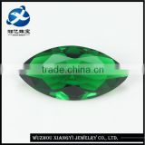 Marquise shape machine cut green colored lab created glass gems for jewelry