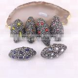 Gem Stone Druzy Jewelry with Pave Rhinestone, Olive shape Charm Stones For Jewelry Making