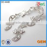 Crystal rhinestone banding glass beaded chain/trimming for wedding dress wholesale