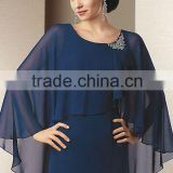 Best selling beaded bolero navy blue wrap chiffon night girls bridal capes CWFaJ4709