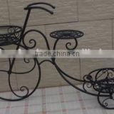 XY11933 outdoor garden decor antique metal flower planters, wrought iron bicycle plant stand