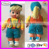 B089 Yellow Blue Plastic Face Shoes Toy Doll Stuffed Plush Safety Interactive Doll
