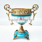 Elegant Blue & White Painting Ceramic Fruit Bowl, Home Decorative Porcelain With Bronze Compte/Compotier