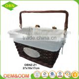 Handmade removable logo wicker wooden cheap custom bike basket