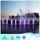 Large Outdoor Water Fountain, built in lake with light and music