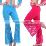 Top Selling Chic Pants Dance Costume Milk Silk Sexy Lace Fishtail Bell Bottom Pants For Belly Dance Slip