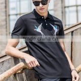 Mens private label cotton comfortable new style bird printing fabrics for polo shirts