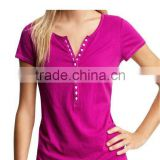 LADIES CREW NECK T SHIRT WITH BUTTON PLACKET