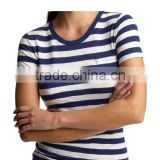 LADIES STRIPED CREW NECK T SHIRT