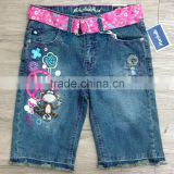 girls medium dark blue wash denim bermuda jeans with raw bottom hem #29BEH0014