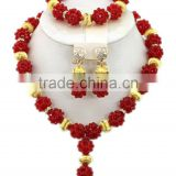 Gold-Plated Ball Crystal Beads Y shape Necklace African Jewelry Set
