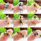 wholesale Vintage bronze silver gold costume animal rings openning adjustable rings