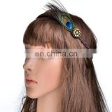High quality boho peacock feather hairband adjustable braided gril's peacock feather headband