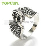 Topearl Jewelry New Design Fashion Stainless Steel Jewelry Eagle Wings Motorcycles Tire Biker Men Ring MER434