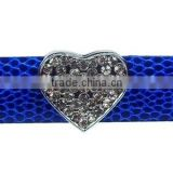Full Rhinestone Heart 18mm Rhinestone Slide Charms Wholesale, fits 18mm width Leather Bracelet