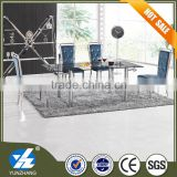 extensible tempered glass top dining table