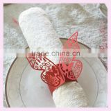Pearl Paper napkin ring in many colors for wedding,red color butterfly wedding napkin holder MJ-34 wedding table decoration