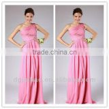 pink one shoulder pleated long chiffon bridesmaid dress                                                                         Quality Choice
