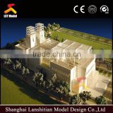 beautiful scale building model with wooden base for museum