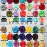 HOT SALE!!High quality 83Solid color Shabby Frayed Flower - IN STOCK Chiffon Fabric hair flowers