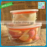 2014 Newest fruit salad glass bowl with high quality plastic lid clear glass tempered glass bowl