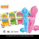 Factory directly sell kids talking pen with audio books with 4 translations english french Milti-Language sould books