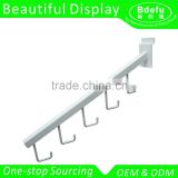 Beautiful Slatwall accessories -White color Metal Display Slat Wall Hook/ Clothes hanger hook