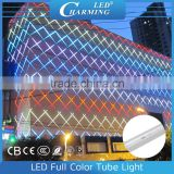 Aluminum base Polycarbonate Transparency DC24V Full color RGB led tube light for outdoor lighting project in 2016