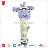 Cute baby toys for promotion gifts soft plush stuffed animal design baby rattle baby toy