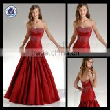 New Wholesale Custom Made Mermaid Sweetheart Red Satin Party Dress Sequined Homecoming Dress H0021