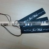 Black board sliver foil with waxed black string hang tag