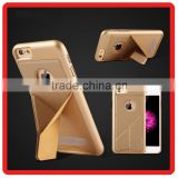Hot selling Luxury design leather+PC Foldable Stand mobile phone housings for iPhone 6 6s plus