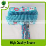 Sweeping rubber broom colorful flower printing plastic broom with high quality
